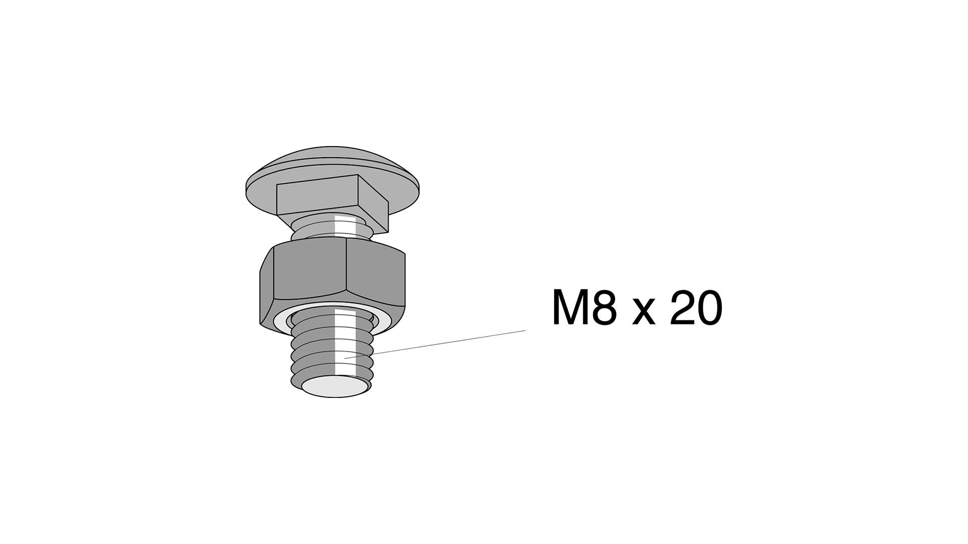 Bra Vagnsbult M8x20 mm 10 st OY-51